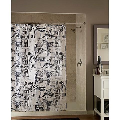 Travel Shower Curtain in Black White Bed Bath & Beyond