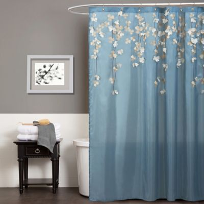 Flower Drops Shower Curtain In Federal Blue/White