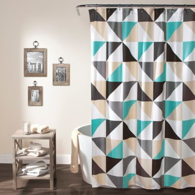 Abner Geo Shower Curtain in TurquoiseBuy Turquoise Fabric Shower Curtain from Bed Bath   Beyond. Brown And Turquoise Shower Curtain. Home Design Ideas
