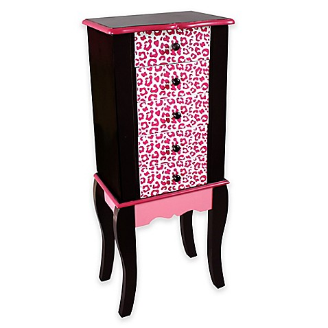 Teamson Kids Leopard Print Jewelry Armoire In Pink Black