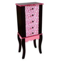 Teamson Kids Leopard Print Jewelry Armoire in Pink/Black