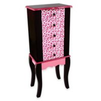 Teamson Kids Leopard Print Jewelry Armoire in Pink/Black
