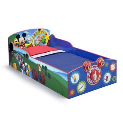 delta disney mickey mouse wooden interactive toddler bed
