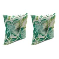 Outdoor 16-Inch Square Throw Pillow with Center Hector in Keycove Lagoon (Set of 2)