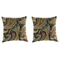 Outdoor 16-Inch Square Throw Pillow in Hadia Noir (Set of 2)