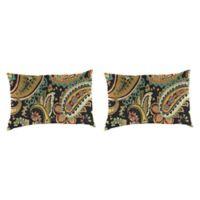 Outdoor 18-Inch x 12-Inch Rectangle Throw Pillow in Hadia Noir (Set of 2)
