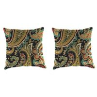 Outdoor 18-Inch Square Throw Pillow in Hadia Noir (Set of 2)