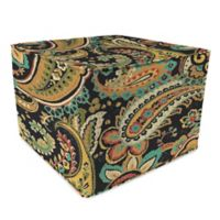Outdoor 20-Inch Square Pouf in Hadia Noir