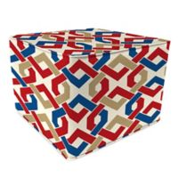 Outdoor 20-Inch Square Pouf in Rieser Patriot