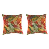 Outdoor 18-Inch Square Throw Pillow in Tomesa Fireball (Set of 2)