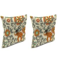 Outdoor 16-Inch Square Throw Pillow with Center Hector in Menagerie Cayenne (Set of 2)