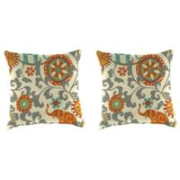 Outdoor 16-Inch Square Throw Pillow in Menagerie Cayenne (Set of 2)