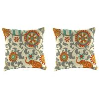 Outdoor 18-Inch Square Throw Pillow in Menagerie Cayenne (Set of 2)