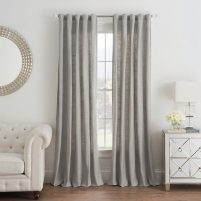 Buy Linen 63-Inch Window Curtain Panel in Grey from Bed Bath & Beyond