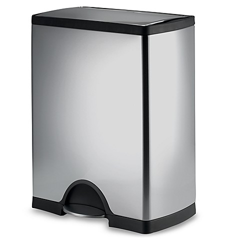 simplehuman brushed stainless steel rectangular 50 liter step on trash can bed bath beyond. Black Bedroom Furniture Sets. Home Design Ideas