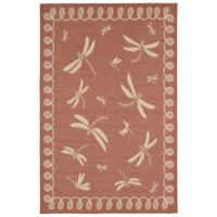 Trans-Ocean Dragonfly 3-Foot 3-Inch x 4-Foot 11-Inch Indoor/Outdoor Rug in Terracotta