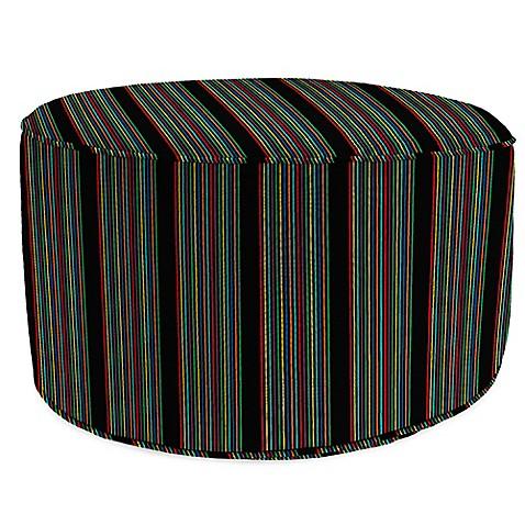 Outdoor round pouf ottoman in sunbrella hifi glow bed for Ulani outdoor round pouf ottoman