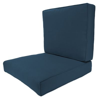 24 Inch Square 2 Piece Deep Seat Chair Cushion In Sunbrella® Spectrum Indigo
