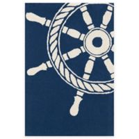 Trans-Ocean Frontporch Ship Wheel 24-Inch x 36-Inch Door Mat in Navy