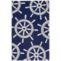 Trans-Ocean Frontporch Ship Wheel 3-Foot 6-Inch x 5-Foot 6-Inch Door Mat in Navy