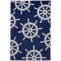 Trans-Ocean Frontporch Ship Wheel 5-Foot x 7-Foot 6-Inch Door Mat in Navy