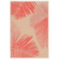 Liora Manne Terrace Palms 1-Foot 11-Inch x 2-Foot 11-Inch Indoor/Outdoor Rug in Coral