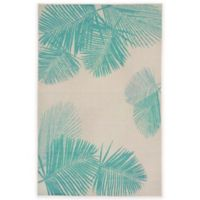 Liora Manne Terrace Palms 3-Foot 3-Inch x 4-Foot 11-Inch Indoor/Outdoor Rug in Turquoise