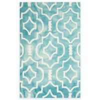 Safavieh Dip Dye Moroccan Trellis 2-Foot 6-Inch x 4-Foot Accent Rug in Turquoise/Ivory