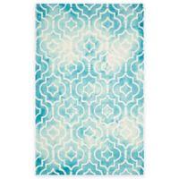 Safavieh Dip Dye Moroccan Trellis 4-Foot x 6-Foot Area Rug in Turquoise/Ivory