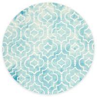 Safavieh Dip Dye Moroccan Trellis 7-Foot Round Area Rug in Turquoise/Ivory