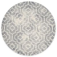 Safavieh Dip Dye Moroccan Trellis 7-Foot Round Area Rug in Grey/Ivory