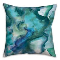 Watercolor Waves 16-Inch Square Throw Pillow in Blue
