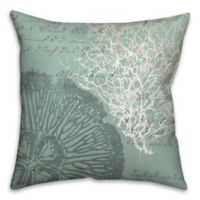 Vintage Writing 18-Inch Square Throw Pillow in Blue/White