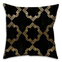 Quatrefoil 18-inch Square Throw Pillow in Black and Gold