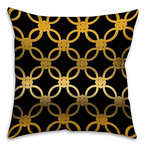 Black Throw Pillows Bed Bath And Beyond : Quad Throw Pillow in Black/Gold - Bed Bath & Beyond