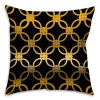 Quad 18-Inch Square Throw Pillow in Black/Gold