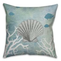 Shell 18-Inch Square Throw Pillow in White/Blue