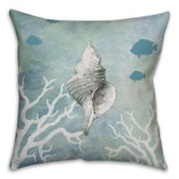 Conch Shell 18-Inch Square Throw Pillow in White/Blue