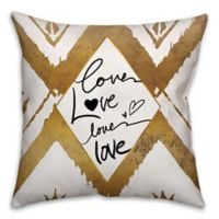 """Love"" 18-Inch Square Throw Pillow in Black/Gold"