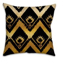 Ikat 16-Inch Square Throw Pillow in Black/Gold