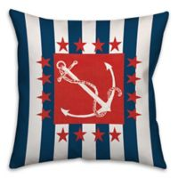 Patriotic Anchor 18-Inch Square Throw Pillow in Blue/Red