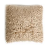 Decorinnovation 18-Inch Mongolian Lamb Faux-Fur Square Throw Pillow in Taupe