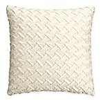 Bridge Street Estelle Basketweave Square Throw Pillow in Ivory