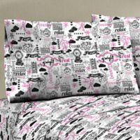 330-Thread Count 100% Cotton Sateen Full XL Sheet Set in Black/White