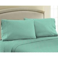 330-Thread Count 100% Cotton Sateen Full XL Sheet Set in Aqua