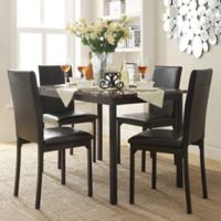 Verona Home Colby 5-Piece Faux Marble Dining Set in White - Black