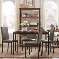 Verona Home Colby 5-Piece Faux Marble Dining Set in Grey