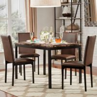 Verona Home Colby 5-Piece Faux Marble Dining Set in Brown
