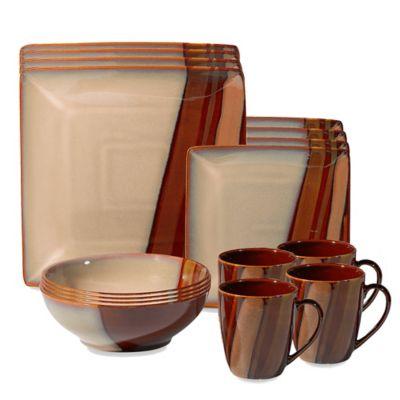 Sango Avanti Brown 16-Piece Dinnerware Set