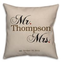 """Mr. and Mrs."" Established 16-Inch Square Throw Pillow in Beige"